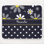 Girly Mod Daisies and Polka Dots With Name Mouse Mat