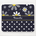 Girly Mod Daisies and Polka Dots With Name Mousemat