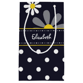 Girly Mod Daisies and Polka Dots With Name Small Gift Bag