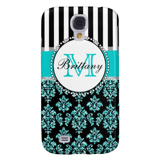 Girly Modern Aqua Teal Glitter Damask Personalised Galaxy S4 Case