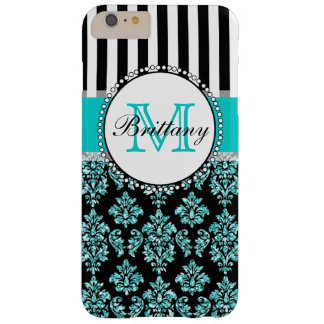 Girly Modern Aqua Teal Glitter Damask Personalized Barely There iPhone 6 Plus Case