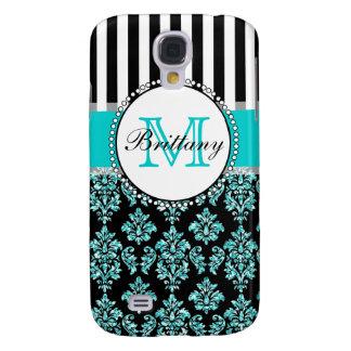 Girly Modern Aqua Teal Glitter Damask Personalized Galaxy S4 Case
