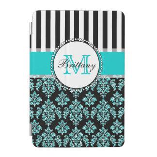 Girly Modern Aqua Teal Glitter Damask Personalized iPad Mini Cover