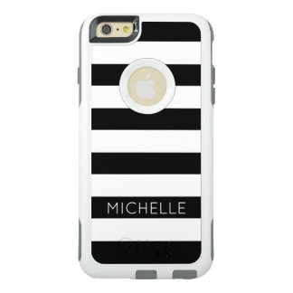 Girly Modern Chic Black White Stripes Pattern Cust OtterBox iPhone 6/6s Plus Case