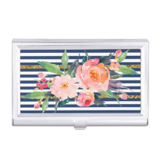 Girly Modern Chic Flowers -Stripes Case For Business Cards