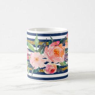 Girly Modern Chic Watercolor Flowers -Stripes Coffee Mug