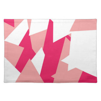 Girly Modern Geometric Pattern in Coral and Pink Placemat