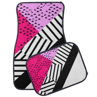 Girly Modern Pink, Black, & White Geometrical Car Mat