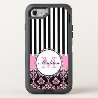 Girly Modern Pink Glitter Damask OtterBox Defender iPhone 8/7 Case