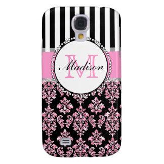 Girly Modern Pink Glitter Damask Personalized Galaxy S4 Case