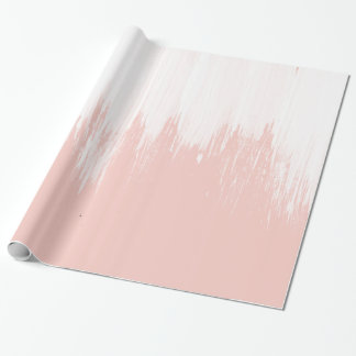 Girly modern pink watercolor paint brushstrokes wrapping paper