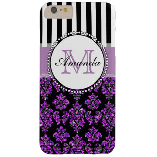 Girly Modern Purple Glitter Damask Personalized Barely There iPhone 6 Plus Case