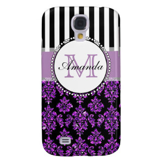 Girly Modern Purple Glitter Damask Personalized Galaxy S4 Case