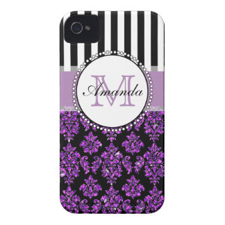 Girly Modern Purple Glitter Damask Personalized iPhone 4 Covers