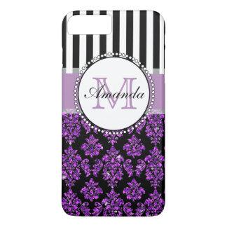 Girly Modern Purple Glitter Damask Personalized iPhone 7 Plus Case