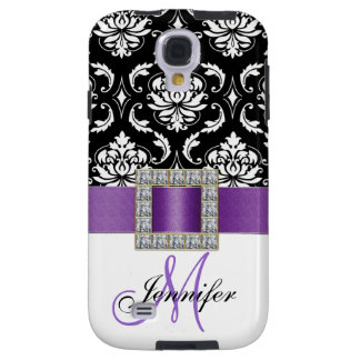 Girly Modern Purple Ribbon Black Damask Galaxy S4 Case