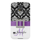 Girly Modern Purple Ribbon Black Damask Galaxy S5 Case