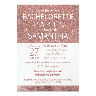 Girly Modern Rose Gold Glitter Foil Bachelorette Card