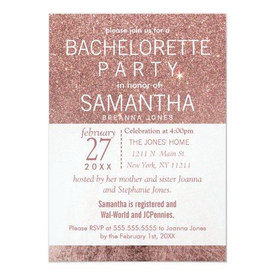 Girly Modern Rose Gold Glitter Foil Bachelorette Card