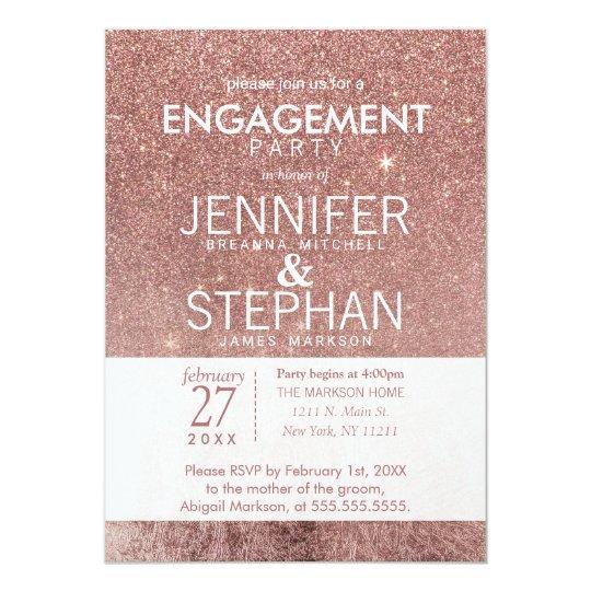 Girly Modern Rose Gold Glitter Foil Engagement Card