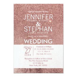 Girly Modern Rose Gold Glitter Foil Wedding Card