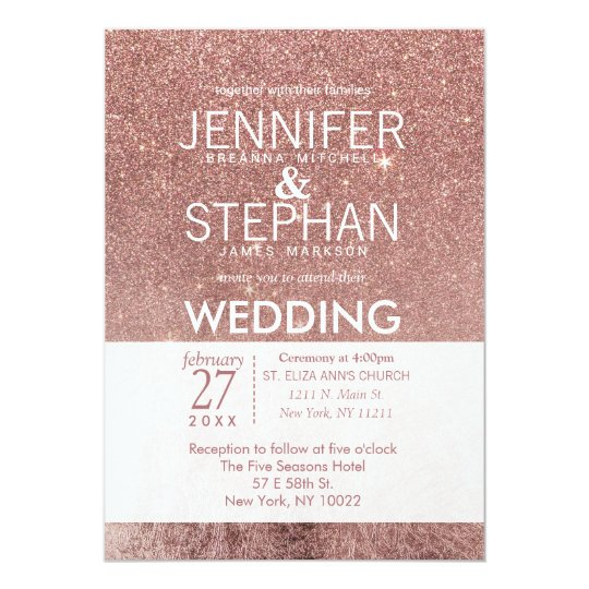Girly Modern Rose Gold Glitter Foil Wedding Card