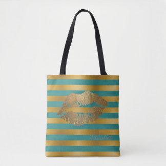 Girly Modern  Stripes,Glittery Lips,Personalized Tote Bag