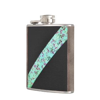 Girly Modern Trendy Hipster Aqua Floral Stripe Hip Flask