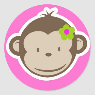 Girly Monkey Classic Round Sticker