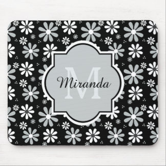 Girly Monogram Black White Daisy Flowers With Name Mouse Mat