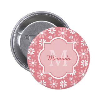 Girly Monogram Cute Pink Daisy Flowers With Name 6 Cm Round Badge