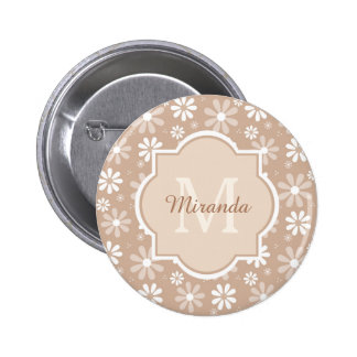 Girly Monogram Cute Tan Daisy Flowers and Name 6 Cm Round Badge