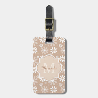 Girly Monogram Cute Tan Daisy Flowers and Name Luggage Tag
