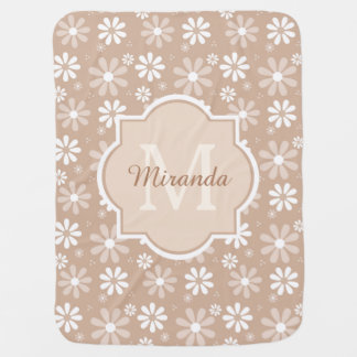 Girly Monogram Cute Tan Daisy Flowers Baby Name Baby Blanket
