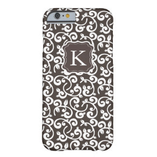 Girly Monogram Floral Chocolate, Change the Color! Barely There iPhone 6 Case