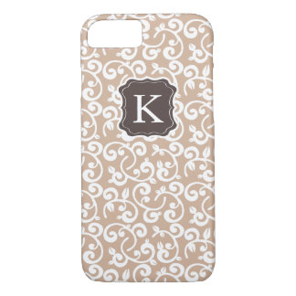 Girly Monogram Floral Pattern, Change the Color! iPhone 7 Case