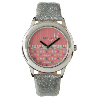 Girly Monogram Floral Pattern on Coral Red Wristwatch