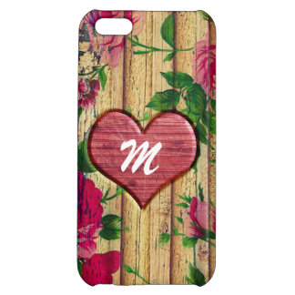 Girly Monogram Floral Print on Wood iPhone 5C Cover