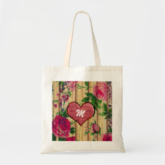 Girly Monogram Floral Print on Wood Tote Bag
