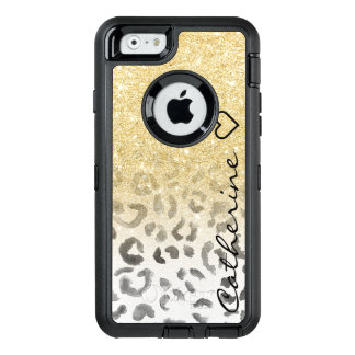 Girly monogram gold glitter leopard watercolor OtterBox defender iPhone case