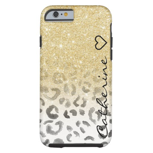 Girly monogram gold glitter leopard watercolor tough iPhone