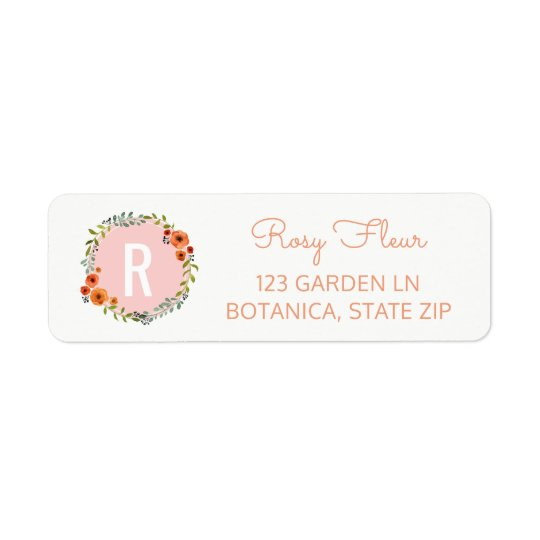 Girly Monogram Initial | Watercolor Flowers Wreath Return Address Label