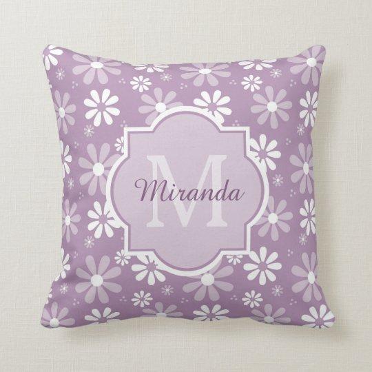 Girly Monogram Light Purple Daisy Flowers and Name