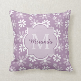Girly Monogram Light Purple Daisy Flowers and Name Cushion