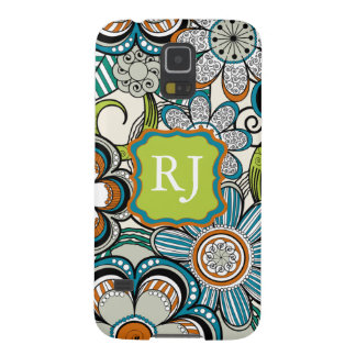 Girly Monogram Mehndi Floral Design, Teal Galaxy S5 Cover