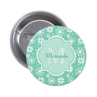 Girly Monogram Mint White Daisy Flowers With Name 6 Cm Round Badge