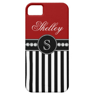 Girly Monogram Name Red Black Stripes iPhone 5 Covers