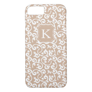 Girly Monogram Pastel Floral, Change the Color! iPhone 7 Case