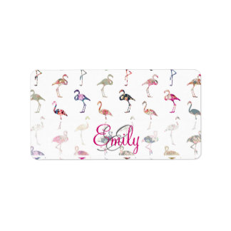 Girly Monogram Retro Floral Flamingos Pattern Label