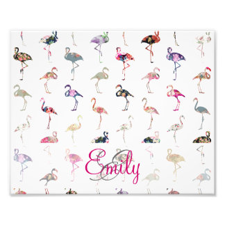 Girly Monogram Retro Floral Flamingos Pattern Photo Print